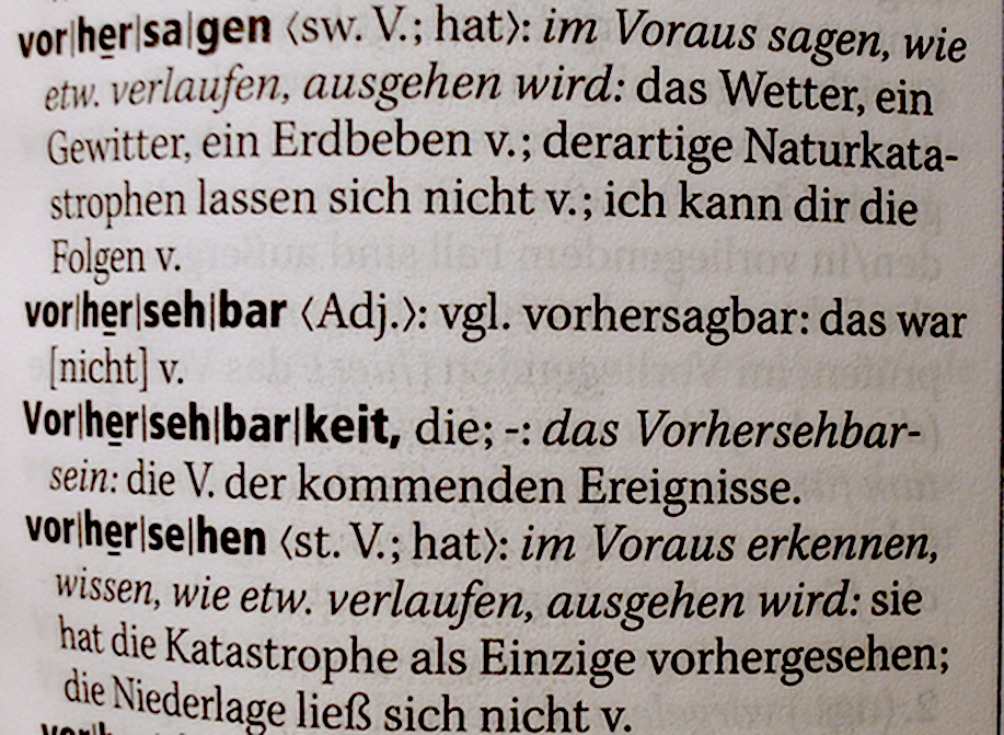"""Dudeneintrag """"Vorhersehbar"""""""
